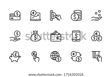 Currency and payment vector line icons. Contains linear icons such as cash, wallet, coins, piggy bank, credit card, bank, money, exchange Rate and much more. Simple vector character set.