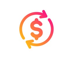 Currency exchange icon. Money Transfer sign. Dollar in rotation arrow symbol. Classic flat style. Gradient usd exchange icon. Vector