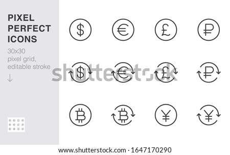 currency exchange line icon set