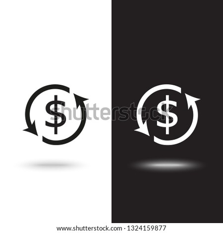 Currency exchange outline icon black color isolated on white background on black and white background