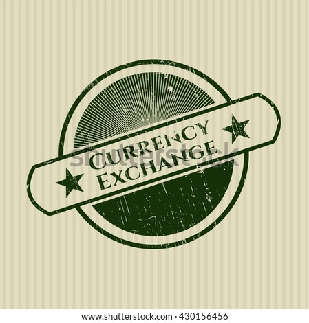 Currency Exchange rubber seal with grunge texture