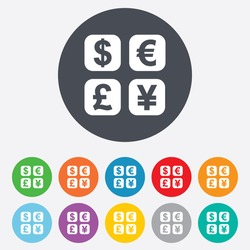 Currency exchange sign icon. Currency converter symbol. Money label. Vector
