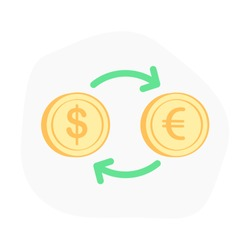 Currency Exchange symbol with arrow, from dollar to euro and from euro coin to dollar, money transfer. Financial icon concept, flat outline vector icon design.