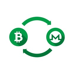 currency exchange vector concept. green symbols of bitcoin and monero with long shadows and arrows on white background. flat cartoon money converter illustration. eps 10