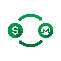 currency exchange vector concept. green symbols of dollar and monero with long shadows and arrows on white background. flat cartoon money converter illustration. eps 10