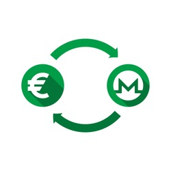 currency exchange vector concept. green symbols of euro and monero with long shadows and arrows on white background. flat cartoon money converter illustration. eps 10