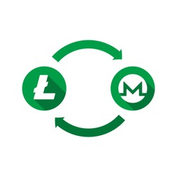 currency exchange vector concept. green symbols of litecoin and monero with long shadows and arrows on white background. flat cartoon money converter illustration. eps 10