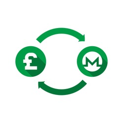 currency exchange vector concept. green symbols of pound and monero with long shadows and arrows on white background. flat cartoon money converter illustration. eps 10