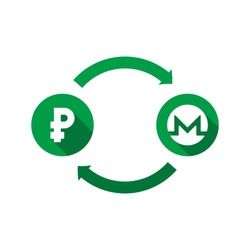 currency exchange vector concept. green symbols of ruble and monero with long shadows and arrows on white background. flat cartoon money converter illustration. eps 10