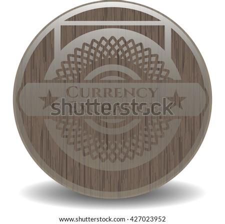 Currency Exchange wooden emblem. Vintage.