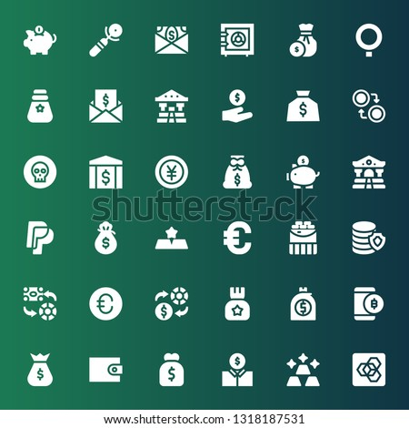 currency icon set. Collection of 36 filled currency icons included Extension manager, Gold, Economist, Purse, Wallet, Money bag, Bitcoin, Money, Exchange, Euro, Coins, Paypal