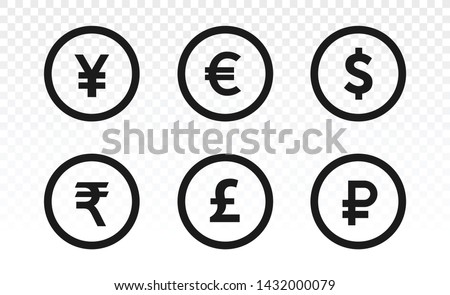 Currency icons. Collection of currency symbols - dollar, euro, pound, rupee, yuan, ruble. Set isolated on white background. Coins icon. Finance symbol. Currency symbol. Transparent background.