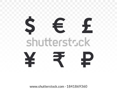 Currency icons. Collection of currency symbols - dollar, euro, pound, rupee, yuan, yen, ruble. Cash icon. Currency exchange symbol. Coins icon. Finance symbol. Currency symbol. Bank payment symbol.