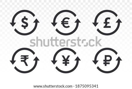Currency icons. Collection of currency symbols - dollar, euro, pound, rupee, yuan, yen, ruble. Cash icon. Currency exchange symbol. Coins icon. Finance symbol. Currency symbol. Back refund investment.