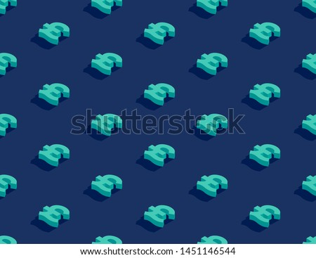 Currency pound sterling (GBP) sign 3d isometric seamless pattern, Business finance concept poster and banner design illustration isolated on blue background with copy space, vector eps 10