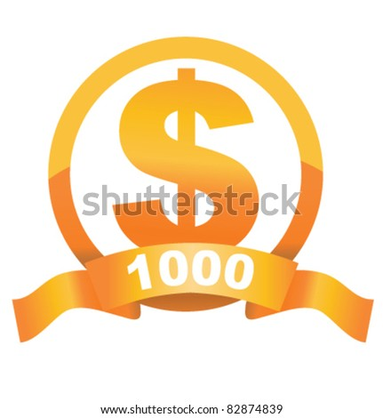 Currency sign of golden dollar with cool ribbon and place for your price - stock vector