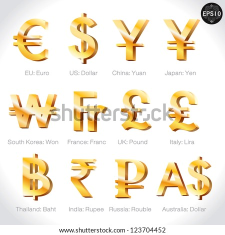 Currency signs - dollar, euro, yen, yuan, won,franc,pound,lira, baht, rupee, rouble,  pound. Vector money symbol.