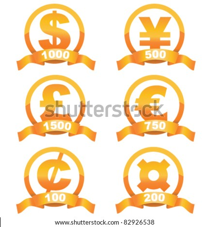 Currency signs golden set of with cool ribbon and place for your price