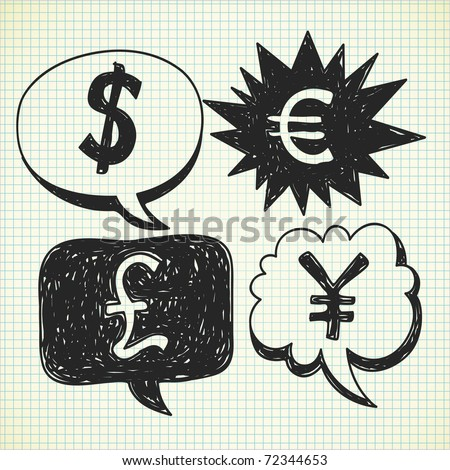 currency symbol doodles