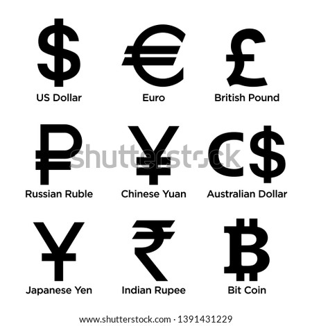 Currency symbol icons set. Collection of currency symbols - currency, Dollar, Euro, British Pound, Russian Ruble, Chinese Yuan, Australian Dollar, Japanese yen, Indian rupee, Bitcoin. - Vector