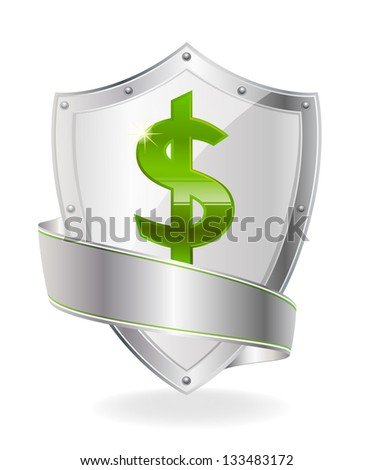 Currency symbol on the shield