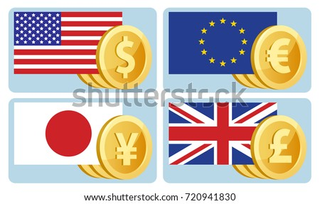 Currency symbols: dollar, euro, yen, pound sterling. Flags of the USA, the European Union, Japan and Great Britain. Vector illustration. Elements is grouped. No transparent objects.
