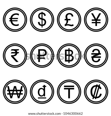 Currency symbols icons simple black and white colored set. A set of currency symbols used in different countries,  black and white.