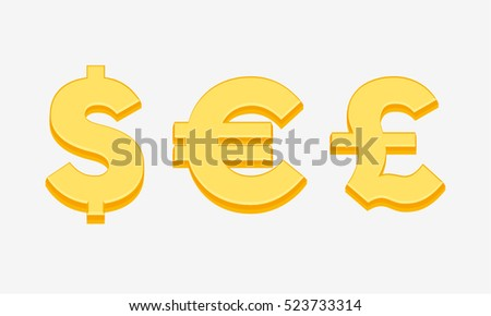 Currency Symbols Signs Of Dollar Euro And Pound Sterling Money