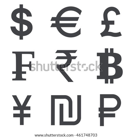 Currency vector icon set isolated on white background. Collection of currency symbols -dollar, euro, pound, franc, rupee, bitcoin, yuan, shekel, ruble.