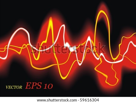 Current. Electric red waves. Vector background. EPS10