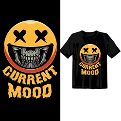 Current mood skull face. Halloween t shirt design template. Happy Halloween t shirt design template easy to print all purpose for man, women and children