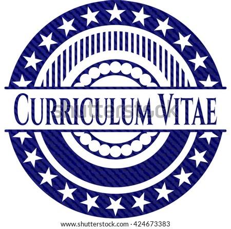 Curriculum Vitae badge with denim texture
