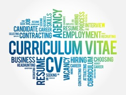 Curriculum vitae CV - word cloud collage, business concept background