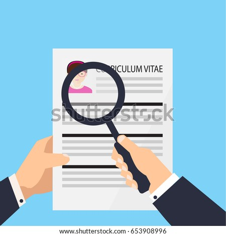 Curriculum vitae document icon. Human resources management or ...