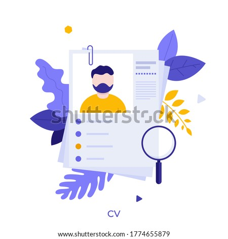 Curriculum vitae or CV and magnifying glass. Concept of professional staff recruitment, job application, hiring personnel, selection of candidates, employment. Modern flat vector illustration. Stok fotoğraf ©