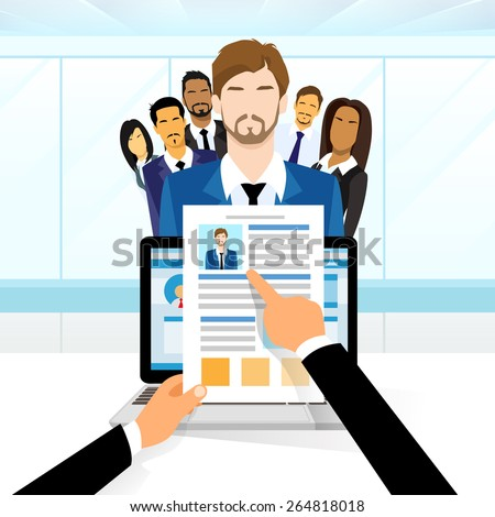 Curriculum Vitae Recruitment Candidate Job Position, Hands Hold CV Profile Choose from Group of Business People to Hire Interview Vector Illustration