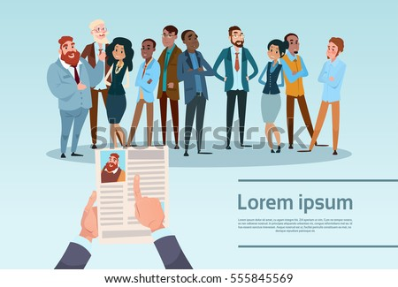 Curriculum Vitae Recruitment Candidate Job Position, Hands Hold CV Profile Choose Group Business People Hire Interview Vector Illustration