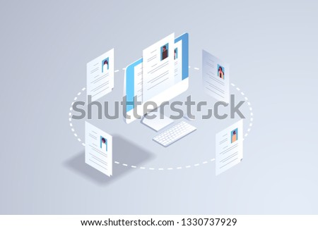 curriculum vitae recruitment candidate job position hr personnel hiring concept cv resume profile on computer monitor screen 3d isometric flat horizontal