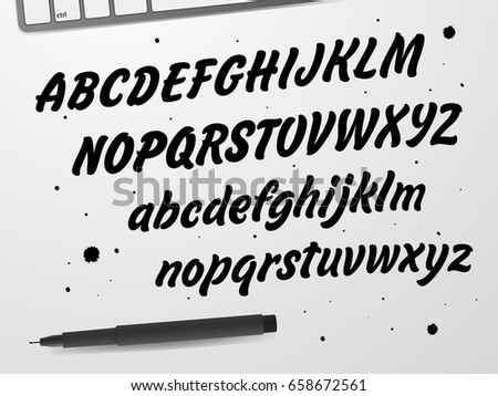 Cursive Black Font. Capital and lowercase letters of the English alphabet for your designs: logo, greeting cards, etc.