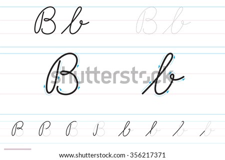 Cursive Letters For Learning To Write. Bb Stock Vector ...