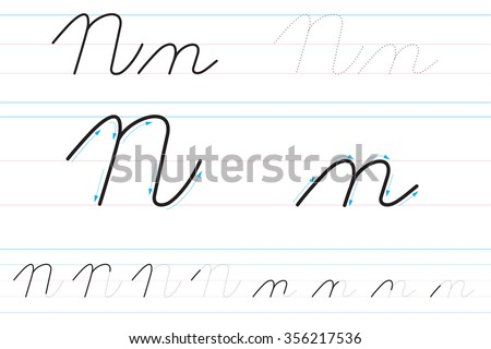 Cursive Letters For Learning To Write. Nn Stock Vector ...