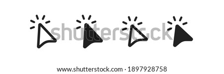 Cursor arrow icon set. Click mouse, wed button symbol in vector flat style.