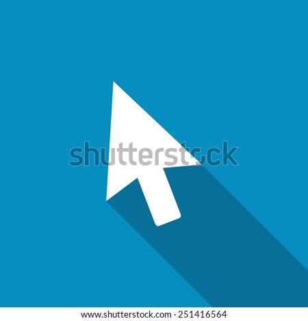Cursor icon. Modern design flat style icon with long shadow effect. Click button. Go icon. Mouse cursor vector. Mouse pointer icon.