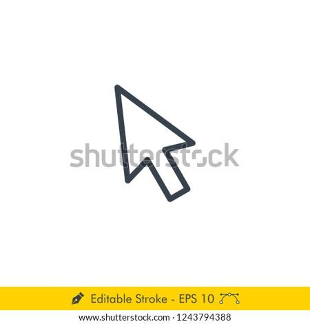 Cursor Icon / Vector - In Line / Stroke Design