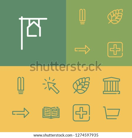 Cursor icon with medical, open book and arrow symbols. Set of next, fluorescent, banking building icons and hospital concept. Editable vector elements for logo app UI design.