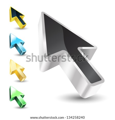 cursor with color variations - stock vector