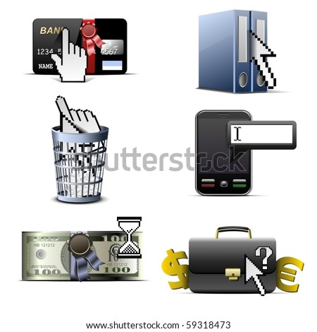 cursors and business vector icons set
