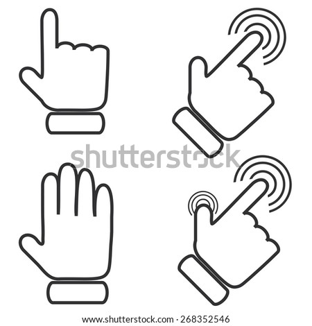 cursors icons on white background.Vector Illustration
