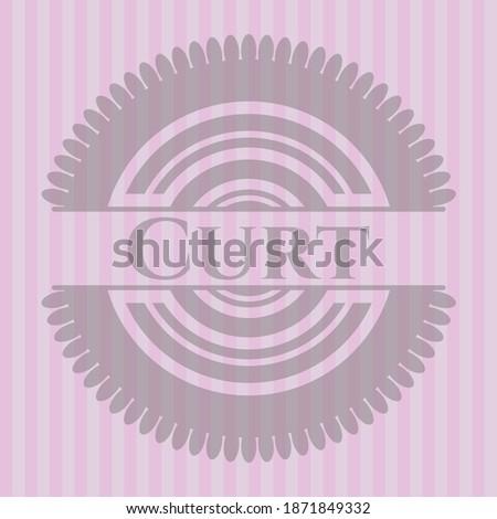 Curt realistic pink emblem. Concept design.  Imagine de stoc ©
