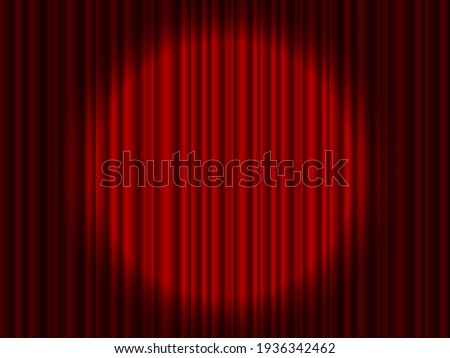 Curtain on stage. Red background with spotlight in theater or cinema. Red closed velvet curtain for circus, theatre, scene and club. Background wirh light of projector for ceremony on broadway. Vector